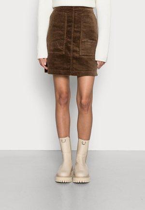 SKIRT STRAIGHT - Mini skirt - roasted chestnut