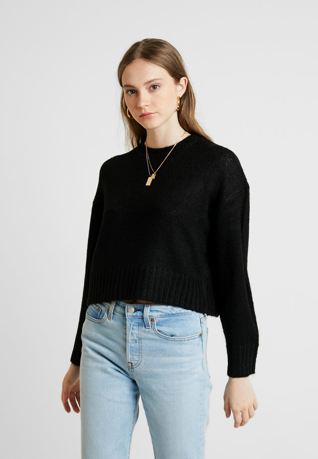 BOXY STRAIGHT SLEEVE - Sweter - black