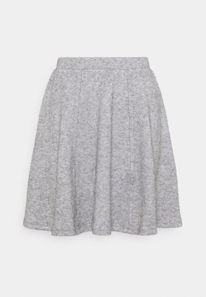Flared mini knitted skirt - Minirock - mottled grey