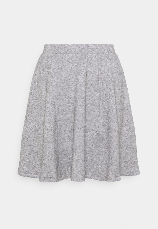 Flared mini knitted skirt - Minigonna - mottled grey