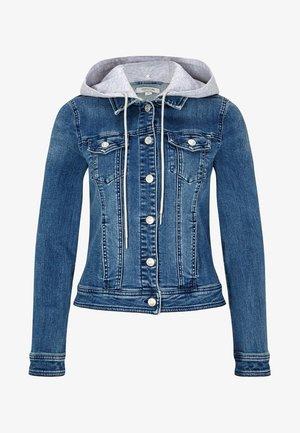 MIT ABNEHMBARER KAPUZE - Denim jacket - blue