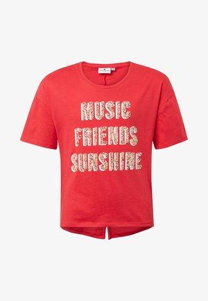 MIT GLITZER-PRINT - T-shirt print - fiery coral