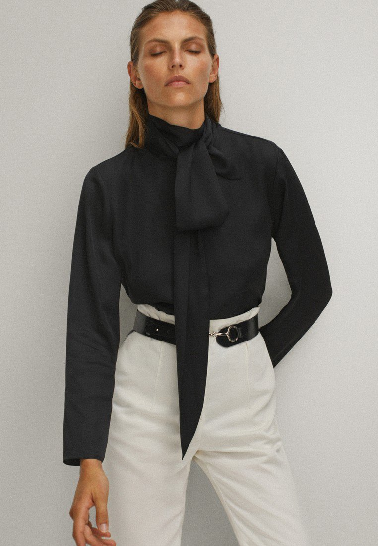 Massimo Dutti - WITH TIE DETAIL  - Blouse - black