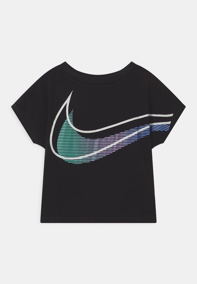 LINES BOXY - Print T-shirt - black