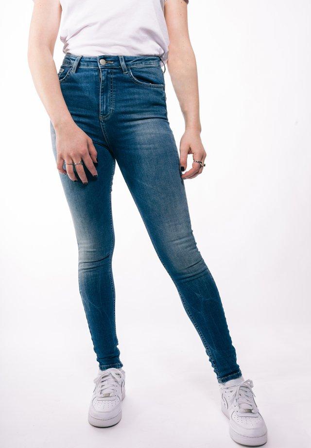 RIPPED HIGH WAIST - Jeans Skinny - midbluedenim