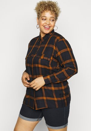 CARJOAN CHECK - Button-down blouse - night sky/pumpkin spice
