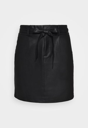 VMEVA PAPERBAG SHORT COATED - Mini skirt - black