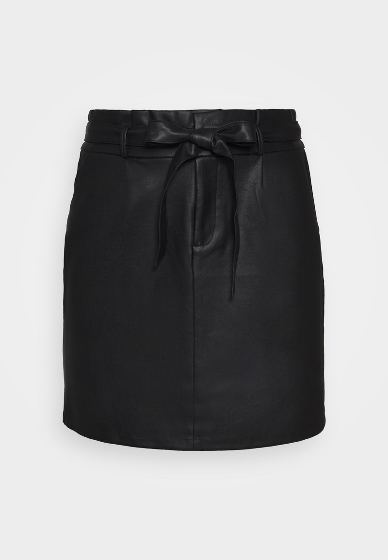 Vero Moda Curve - VMEVA PAPERBAG SHORT COATED - Mini skirt - black