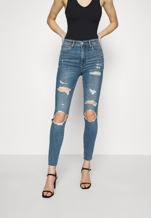 KNEE BLOWOUT CURVE - Jeans Skinny Fit - medium indigo