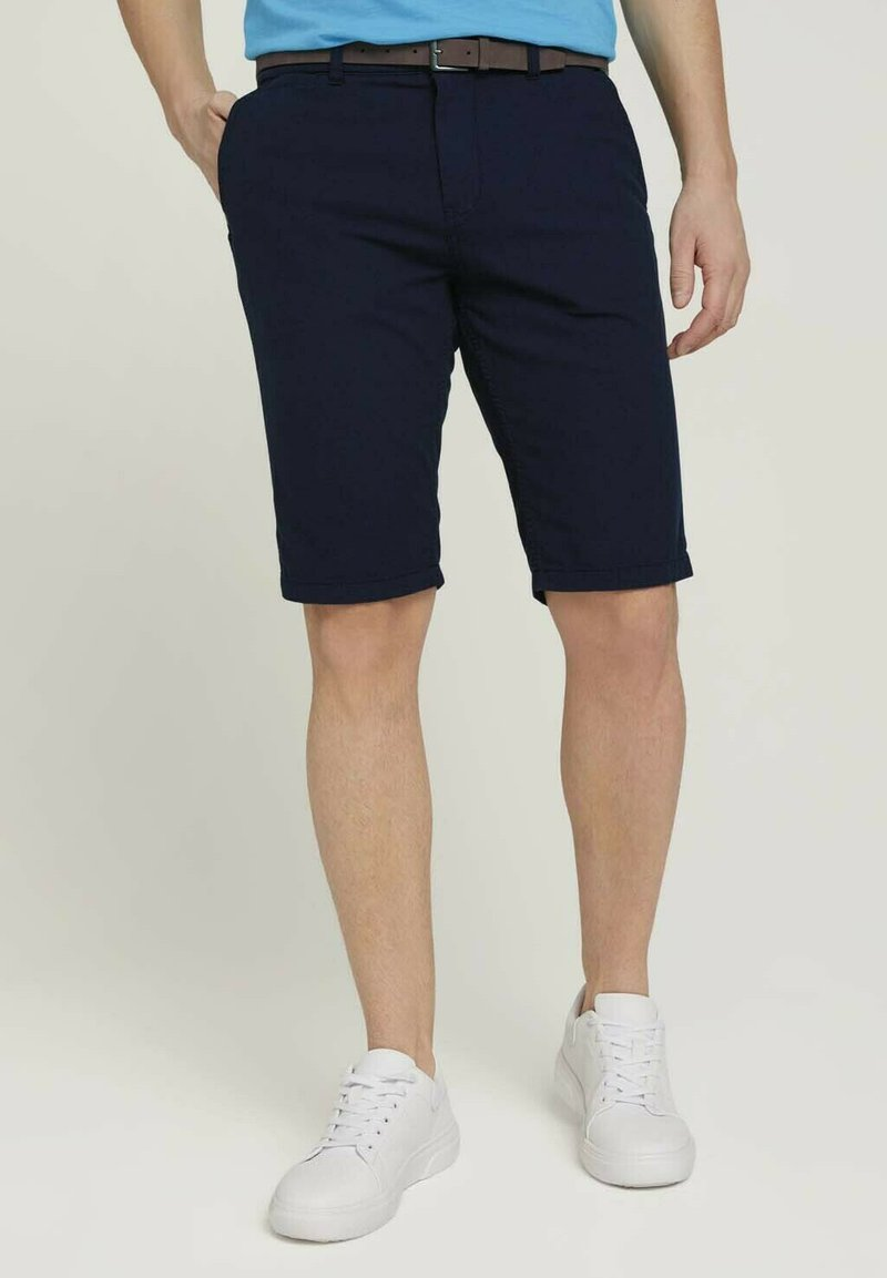 TOM TAILOR - Shorts - navy squared structure