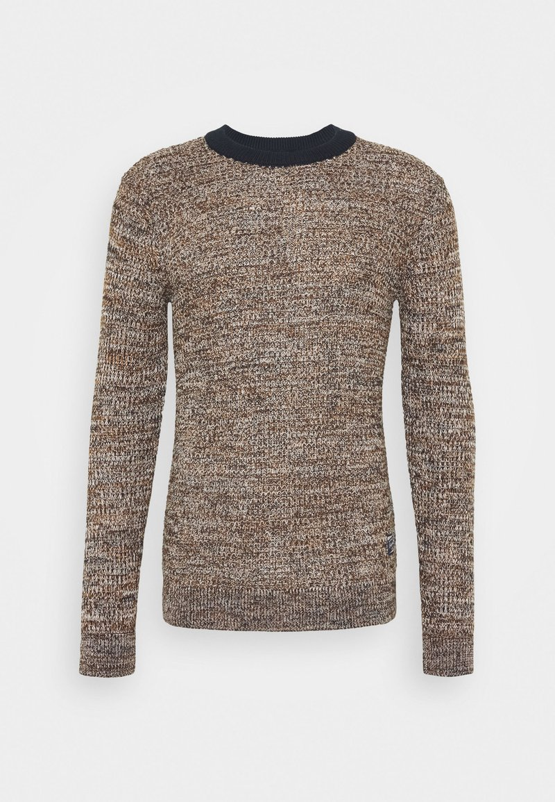 Jack & Jones JORWOODS KNIT CREW NECK - Strickpullover - rubber/braun SkGotI