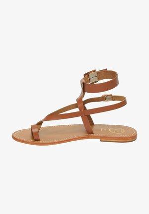 HERMANCE - T-bar sandals - camel