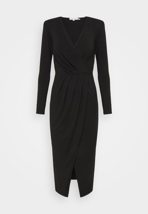 STRONG SHOULDER WRAP DRESS - Vestido ligero - black