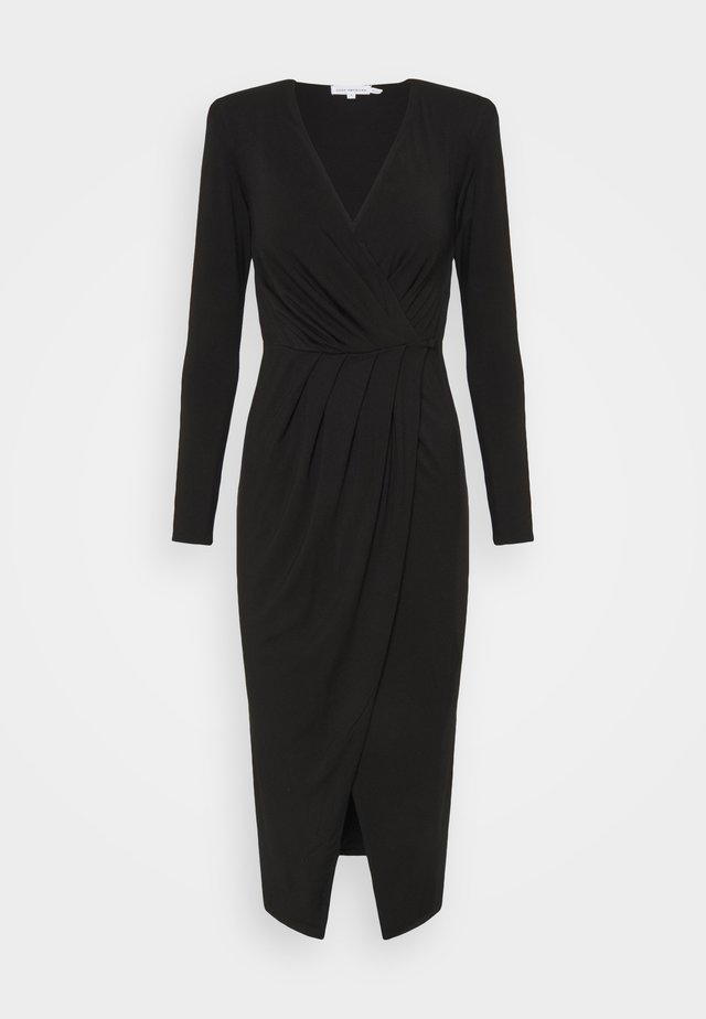 STRONG SHOULDER WRAP DRESS - Jerseyjurk - black