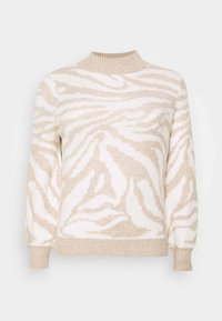 Simply Be - HIGH NECK VOLUME SLEEVE - Jumper - oatmeal/white - 0