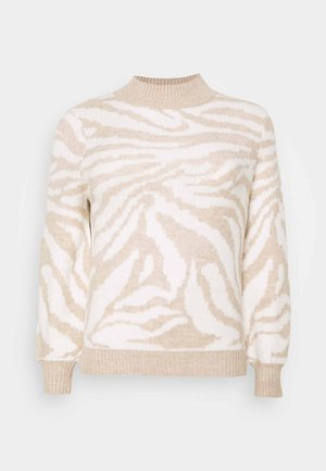 HIGH NECK VOLUME SLEEVE - Jumper - oatmeal/white