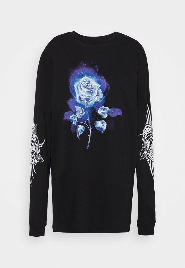 TEE DRESS WITH TRIBAL ROSE - Jerseyjurk - black