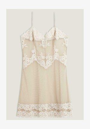 BABYDOLL PRETTY FLOWERS - Nightie - - 641i - powder beige/cream white