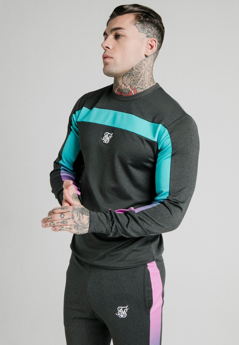 SIKSILK - TRI FADE PANEL CREW - Long sleeved top - dark grey