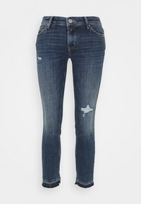 Marc O'Polo DENIM - SIV CROPPED - Skinny džíny - multi/dark blue crosshatch - 0