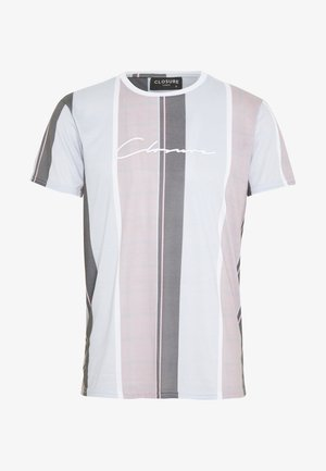 TEXTURED STRIPED TEE - Print T-shirt - pink