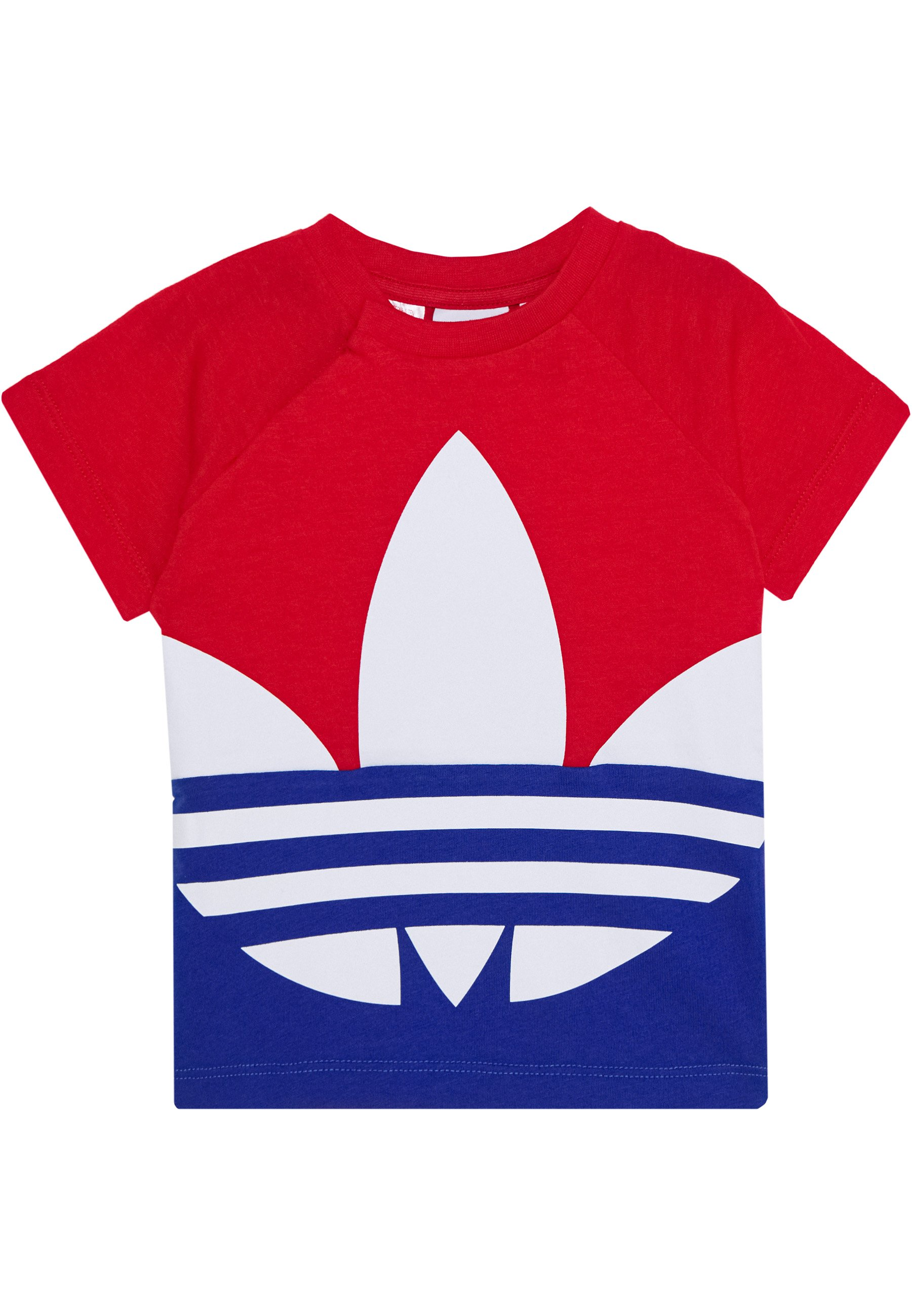 Adidas Originals Big Trefoil Tee - T-shirts Med Print Scarlet/royal Blue/white