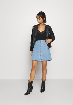 ONLFARRAH SKIRT 2 PACK - A-line skirt - light blue denim/black