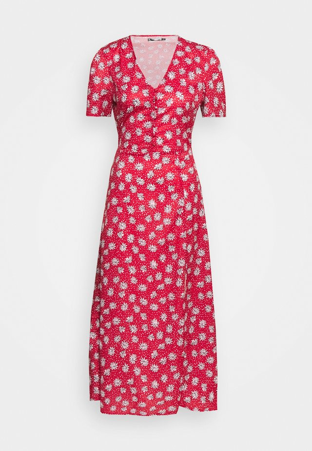 HALF BUTTON TEA DRESS - Maxikjole - red