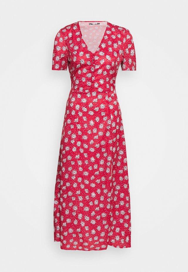 HALF BUTTON TEA DRESS - Vestito lungo - red
