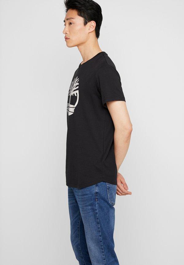 Timberland TREE LOGO TEE - T-shirt z nadrukiem - black/czarny Odzież Męska EAUI