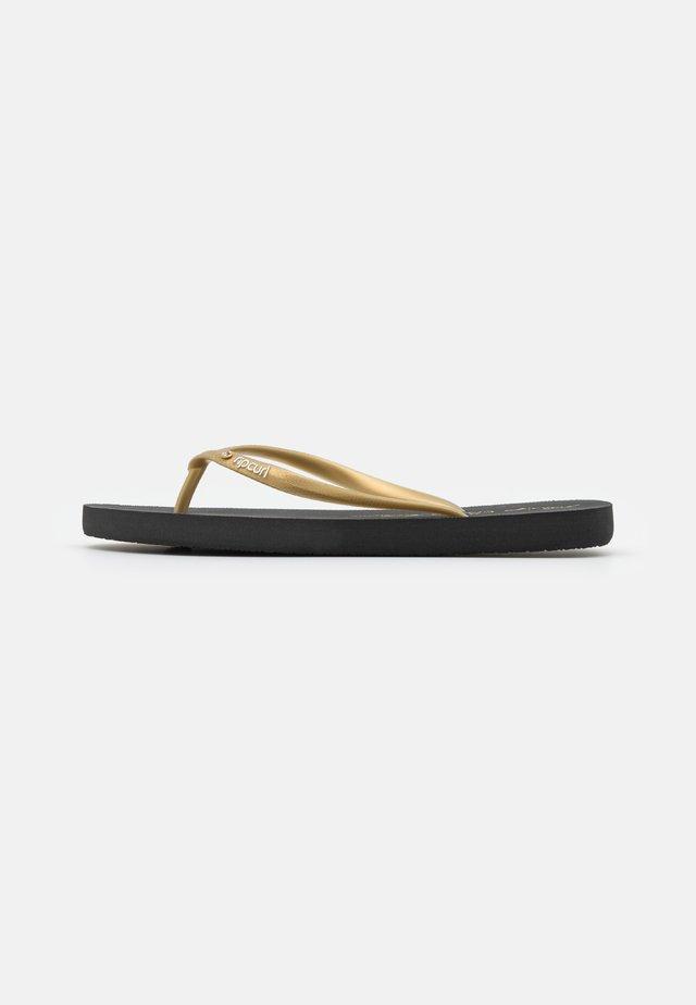 SCRIPT WAVE - T-bar sandals - golden