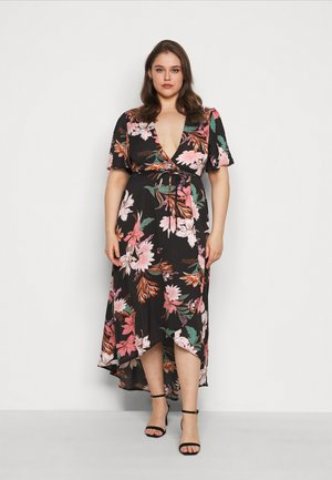 FLORAL HIGH LOW WRAP DRESS - Vestito estivo - black