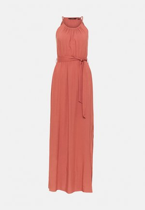 VMSIMPLY  EASY SLIT DRESS - Vestido largo - marsala