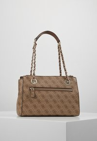Guess - LOGO CITY SML SOCIETY SATCHEL - Handtas - brown - 2