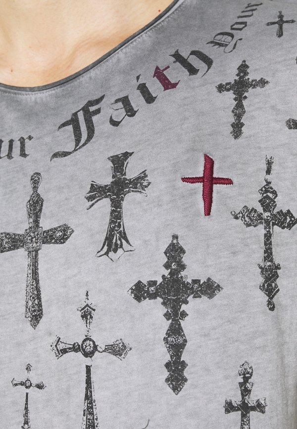 Key Largo SIN CITY ROUND - T-shirt z nadrukiem - anthracite/antracytowy Odzież Męska LWMJ
