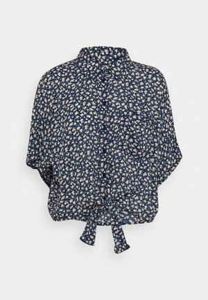 CORE TIE FRONT - Button-down blouse - dark blue