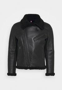 Tommy Hilfiger - BIKER JACKET - Leather jacket - black - 5