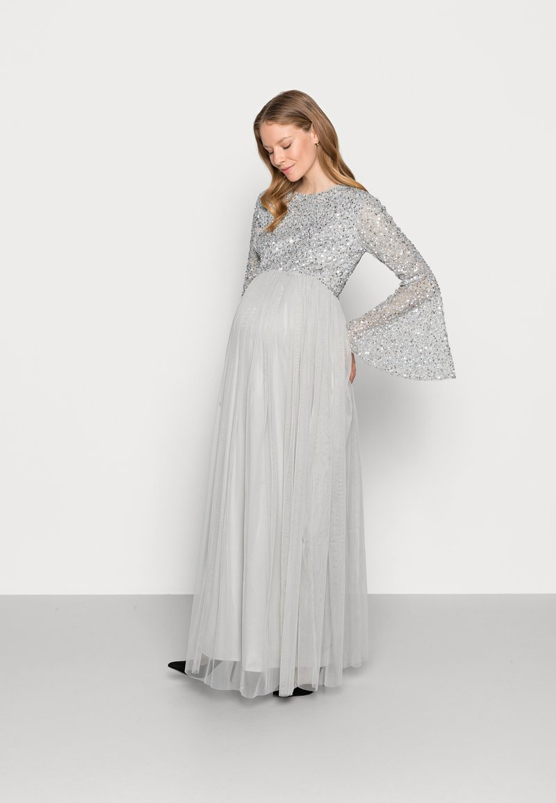 Maya Deluxe Maternity - DELICATE BELL SLEEVE DRESS - Robe de cocktail - soft grey