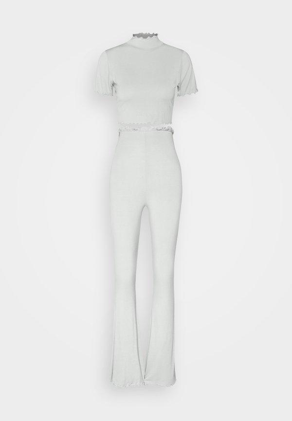 Missguided COORD FLARE TROUSER LETTUCE HEM - Spodnie materiałowe - sage Melanż Odzież Damska GRJQ JK 8