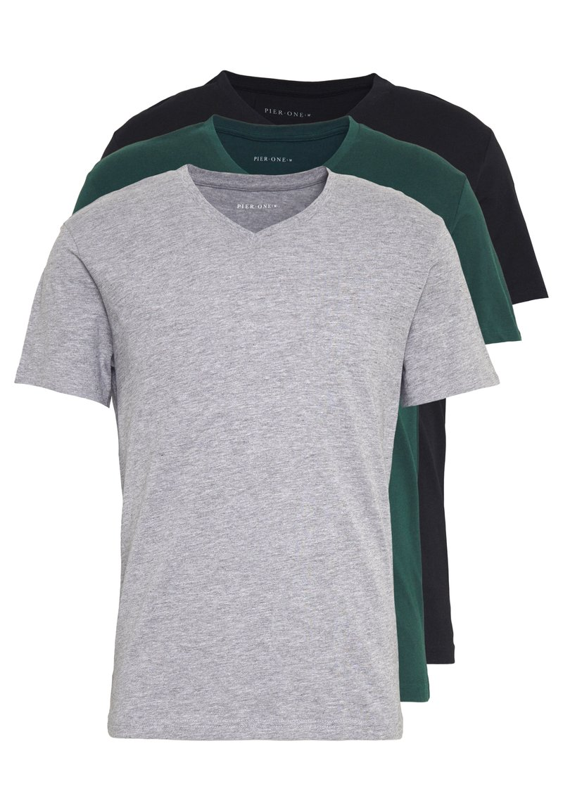 Pier One - 3 PACK  - T-shirt - bas - black, grey, green