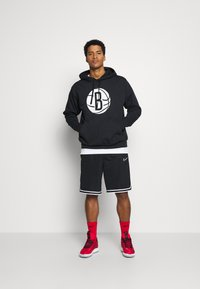 Nike Performance - NBA BROOKLYN NETS LOGO HOODIE - Club wear - black/white - 1