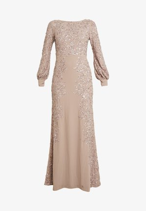 FLORAL EMBELLISHED MAXI DRESS WITH BISHOP SLEEVES - Společenské šaty - pale mauve