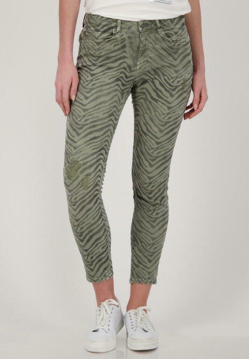 Monari - Slim fit jeans - dusty green gemustert