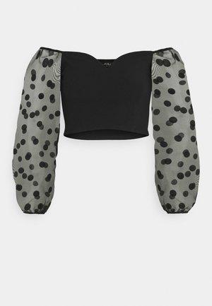 OVERSIZED SPOT SLEEVE BARDOT - T-shirt à manches longues - black