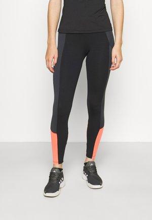 MALLAS LIFT - Legging - black titanium/orange