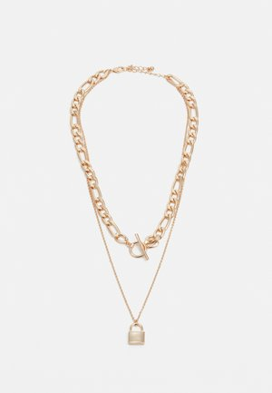 NECKLACE TWO LAYER CHAIN AND LOCK - Necklace - gold-coloured