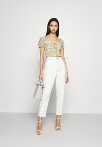 Missguided - FLORAL RUCHED NECK SHIRRED WAIST - Blouse - yellow - 1