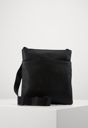 SMALL FLAT CROSSBODY BAG - Sac bandoulière - black/gunmetal