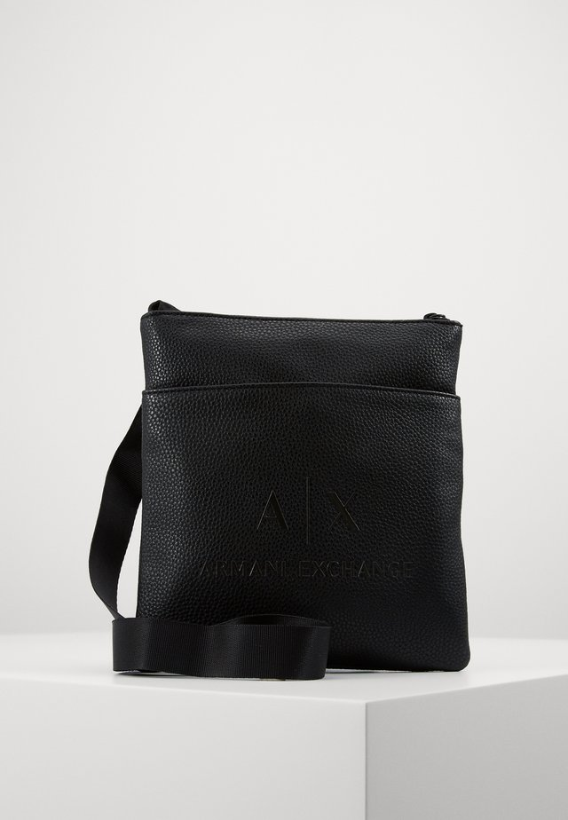 SMALL FLAT CROSSBODY BAG - Across body bag - black/gunmetal
