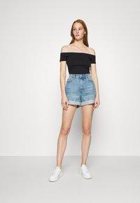 Calvin Klein Jeans - LOGO TRIM BARDOT - Print T-shirt - black - 1